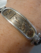 bransoletka srebro ze złoceniami wzory egipskie...