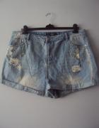jeansowe szoty z przetarciami...