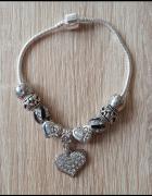 Nowa bransoletka modułowa koraliki beads charms srebrny i czarn...