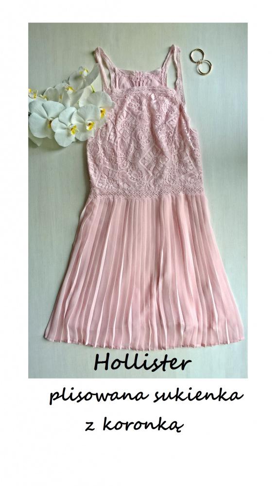 Pudrowa plisowana sukienka koronkowa Hollister XS S wesele osiemnastka studniówka