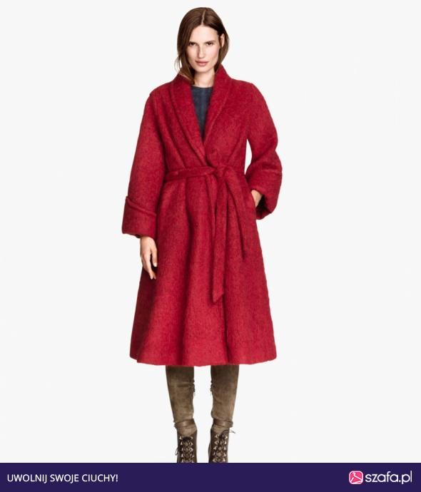 Płaszcz H&M bordowy czerwony alpaka