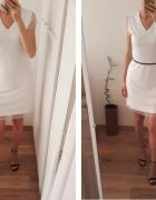 Enjoy Life sukienka krótka prosta biała off white surowa minima...