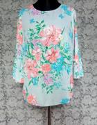 Niebieska bluzka w koralowe kwiaty F&F 42
