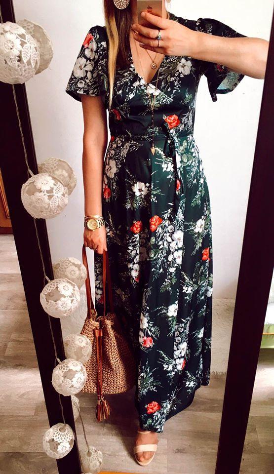 Sukienka Damska w kwiaty zielona C&A rozmiar M