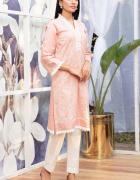 Nowa indyjska tunika L 40 różowa haft kwiaty koronka kameez kur...