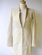 Marynarka Beżowa Beż Zara XS 34 Chanelkowa Dłuższa Płaszcz...