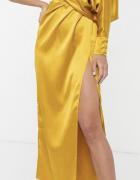 Asos musztsrdowa sukienka asymetryczna wcięcie S...