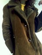 Bardzo ciepły sztruksowy zimowy płaszcz khaki 90s 80s oversize ...