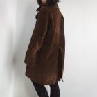 Bardzo ciepły sztruksowy zimowy płaszcz khaki 90s 80s oversize futro vintage retro unisex