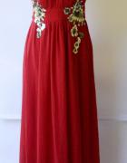 Suknia Sukienka Czerwona Little Mistress S 36 NOWA Długa Cekiny...