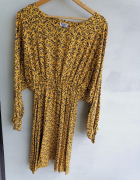 Sukienka kimono musztardowa w gałązki 42