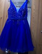 Sukienka niebieska chabrowa tiulowa L sukienka na wesele...