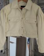 Krótka beżowa kurtka eko skóra oversize szerokie rękawy...