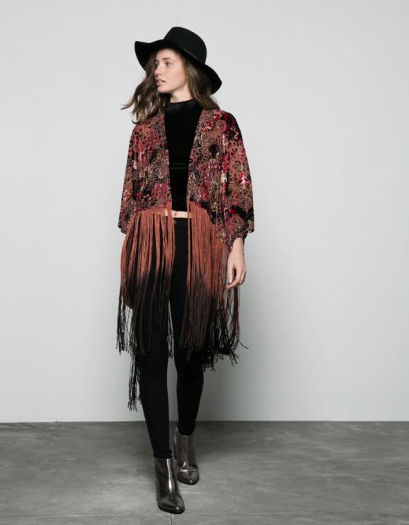 Narzutka kimono z frędzlami Nowa Bershka...