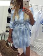 Nowa sukienka w niebiesko białe paski 36 S...