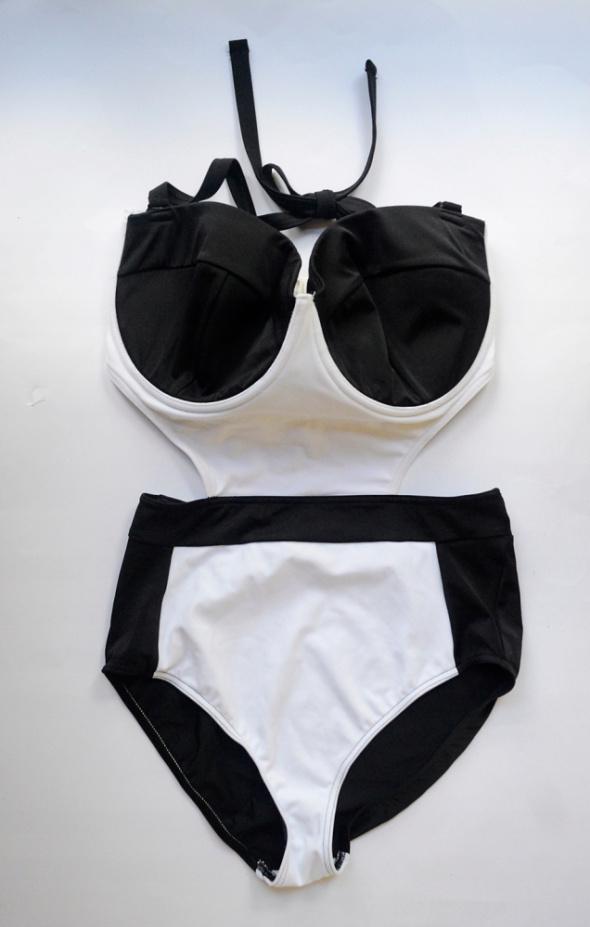 Strój Kostium Kąpielowy Czarny Biały NOWY Asos 85I