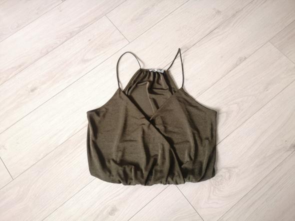 Top Top khaki bluzka Bershka S M L luźna na ramiączkach