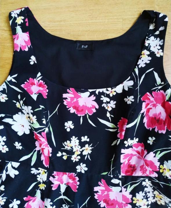 Suknie i sukienki Czarna sukienka kwiaty F&F 42 XL