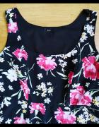 Czarna sukienka kwiaty F&F 42 XL...
