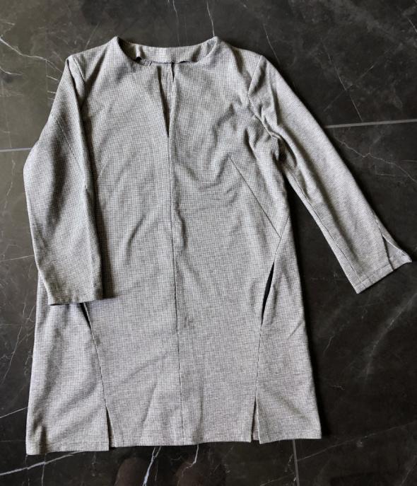 Handmade sukienka w pepitkę ciepły materiał S M 36 38 NOWA...