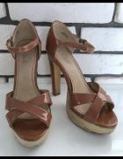 BLINK sandały espadryle szpilki na koturnie słoma rozmiar 38 st...