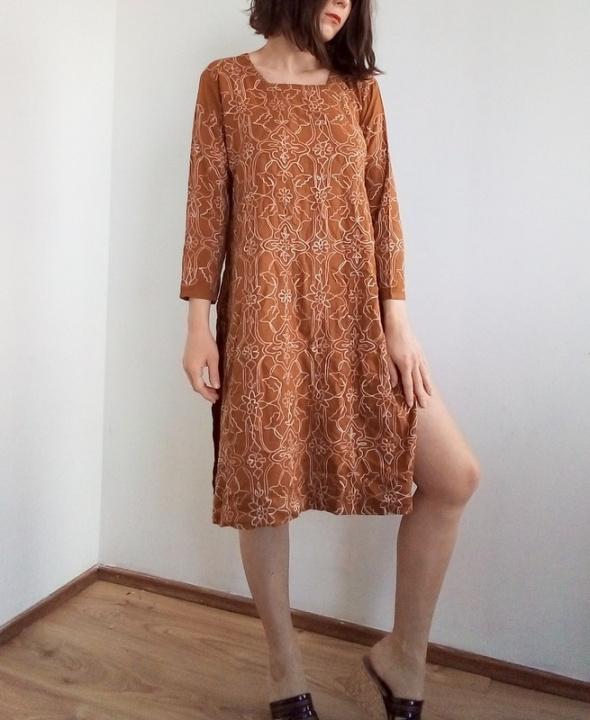 Rdzawa pomarańczowa tunika w hafty indie sukienka oversize 36 S arthoe ahabby etno folk