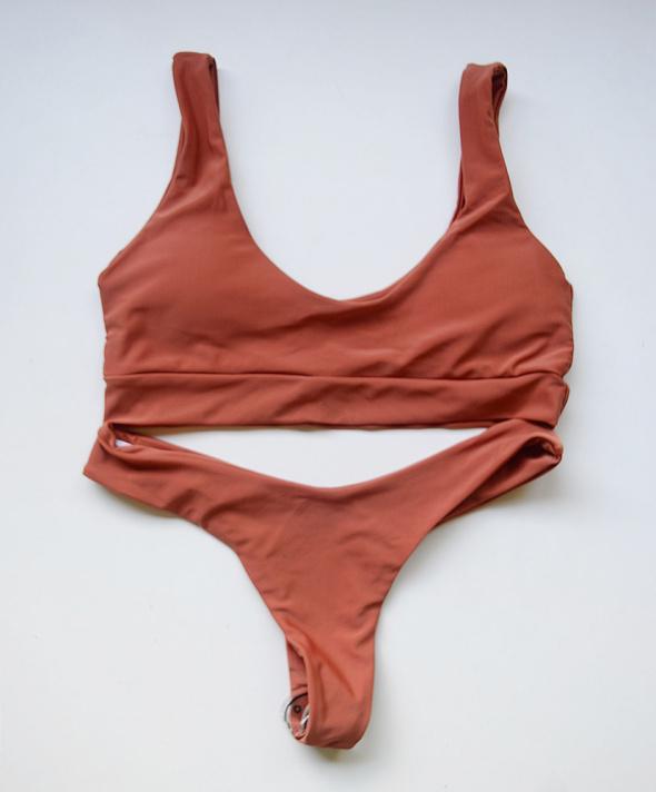 Strój Kostium Kąpielowy Pomarańczowy NOWY L 40 Stringi