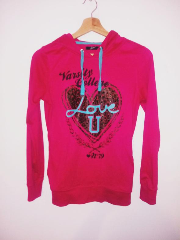Różowa bluza neonowa z kapturem Forever 18 Colloseum serce