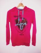 Różowa bluza neonowa z kapturem Forever 18 Colloseum serce...