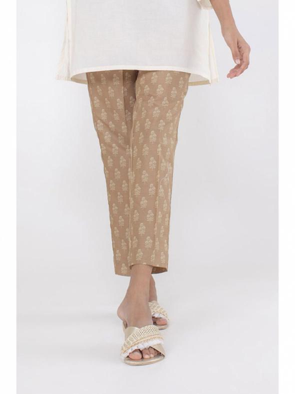 Nowe spodnie indyjskie M 10 38 S 36 brązowe wzór beż salwar shalwar Bollywood