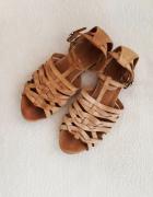Wojas 100 skóra naturalna sandały rzymianki jasny brąz plecione...