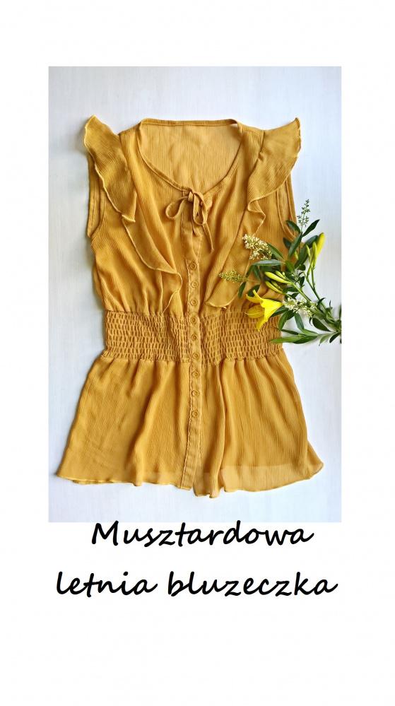 Musztardowa letnia bluzeczka S M z wiązaniem i falbanką