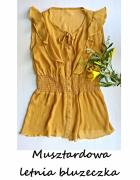 Musztardowa letnia bluzeczka S M z wiązaniem i falbanką...
