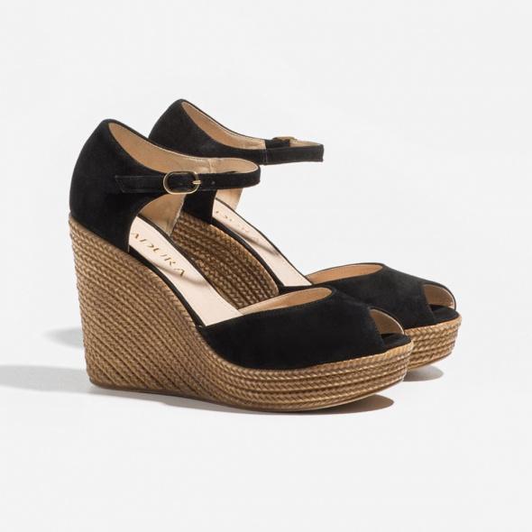 Koturny Sandałki sandały lato buty szpilki koturna czarne słomiane badura 39