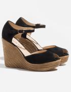 Sandałki sandały lato buty szpilki koturna czarne słomiane badu...