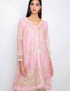 Nowa indyjska tunika sukienka L 40 angrakha Bollywood złoty haf...
