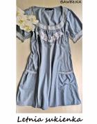 Bawełniana niebieska sukienka z białym haftem KappAhl 42 44...