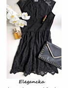 Czarna koronkowa sukienka XS S...