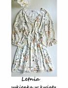 Letnia sukienka w kwiaty zwiewna wesele komunia chrzest M L...