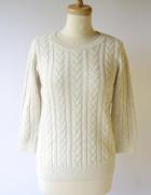 Sweter H&M Basic M 38 Warkocze Kremowy Alpaka...
