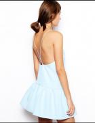 sukienka lato odkryte plecy falbanka błękit zara asos lou...
