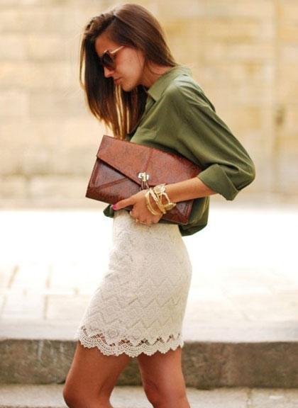 Spódnice Spódnica mini biała koronka koronkowa biała ecru