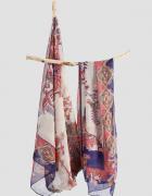 Nowa chusta szal szalik bardzo duża indyjska dupatta szyfon wiskoza wzór aztec etno boho