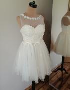 Sukienka tiulowa ecru princeska M L...
