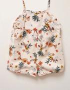 NOWY Zara 100 bawełna kombinezon krótki dla dziewczynki kolorowy kwiaty 98