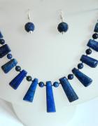 Lapis lazuli z pirytem unikatowy zestaw biżuterii srebro
