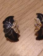 Eleganckie klipsy z cyrkoniami retro vintage pin up...