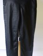 Spodnie Czarne Woskowane Lindex XL 42 Rurki Czerń...