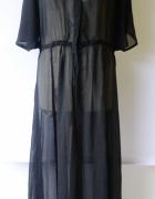 Sukienka Plażowa Pareo Czarna Ellos XL 42 Long Długa Maxi