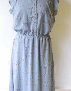 Sukienka Ptaszki XL 42 Niebieska Nowa Sugarhill Kołnierzyk...